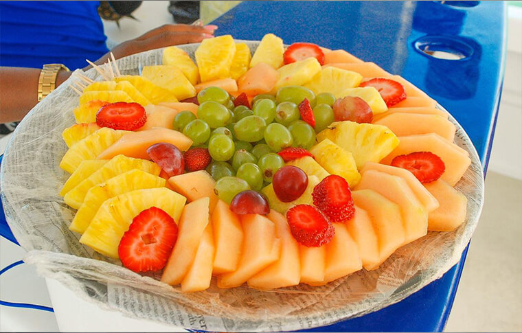 Plate of colourful fruits