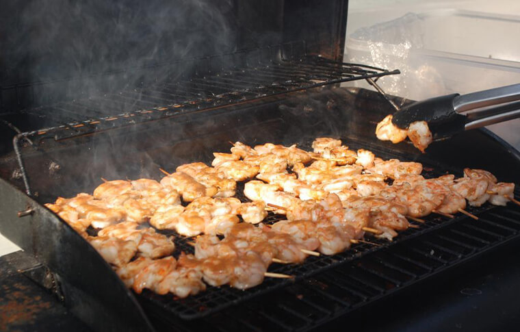 Prawns grilling on the BBQ